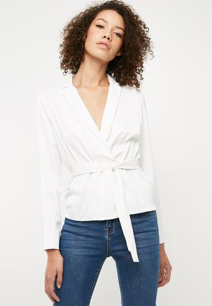 Satin tie waist top - white