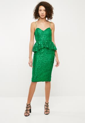 Strappy lace midi dress - green