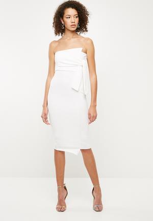Bandeau tie detail asymmetric midi dress - white