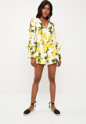 Lemon print playsuit - yellow