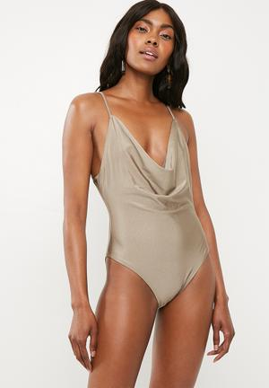 8c3d9f2886517 Drape swimsuit - taupe