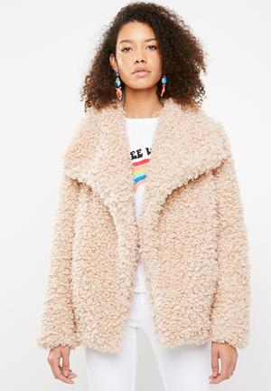 Shaggy waterfall faux fur jacket - pink