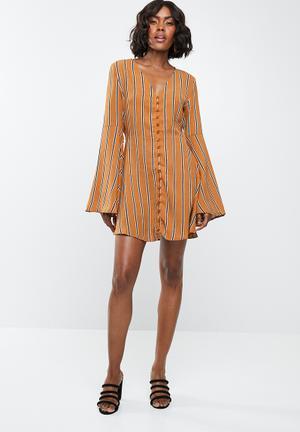 Stripe flare sleeve button front dress - mustard