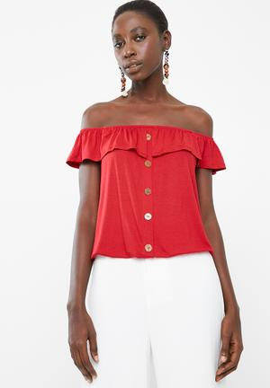 2e94fbac854f4 Off the shoulder button through top with frill - red