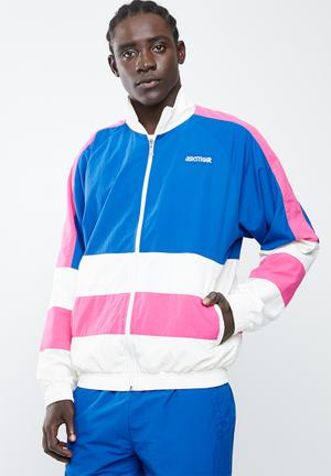 Colourblock woven full zip long sleeve jacket - blue