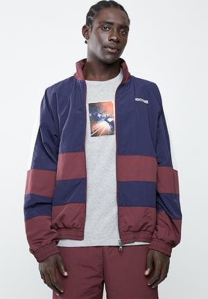 Colourblock woven full zip long sleeve jacket - navy