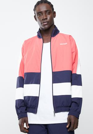 Colourblock woven full zip long sleeve jacket - red