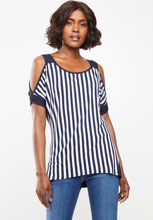 Stripe cold shoulder top - navy   white 0dee24cd6