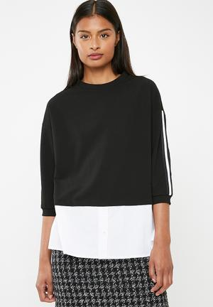 c97a769ee02 Upstyled twofer top - black