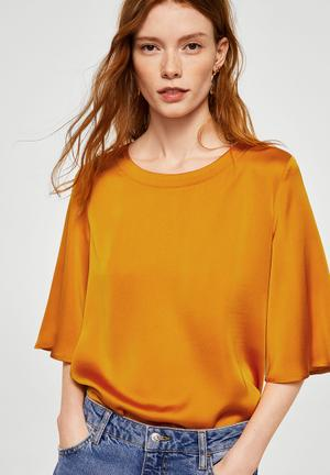 Contrasting design T-shirt - orange