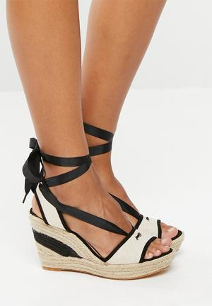 ccddda16de80 Satin bow lace up wedge - black and white