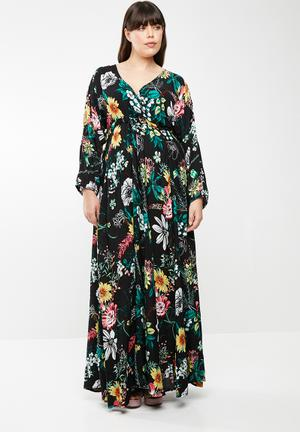 Eleonora draw front maxi dress - multi