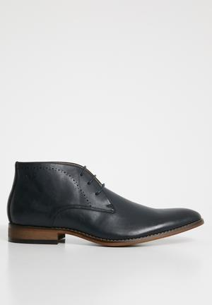 Jarred Pin punch leather boot - navy