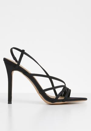 a42107462d1 Asymmetric multi strap heel sandal - black