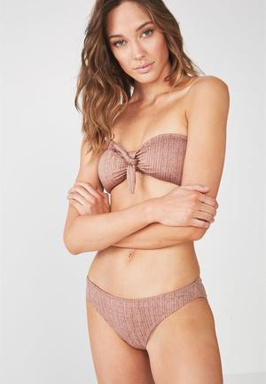 5de658694d Kaya jacquard tie bandeau bikini top - brown