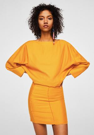 Boat neck mini dress - yellow