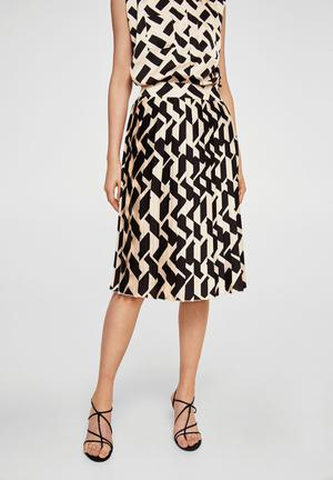 Geometric print pleated skirt - black & cream