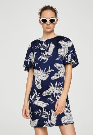 Flowy printed dress - navy