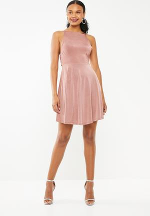 6ccd99de0f8 Fit and flare dress with back bow detail - pink