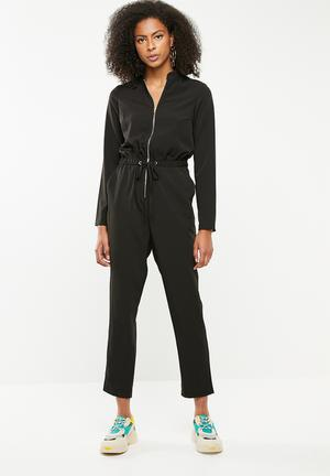 2e026af145404 Utility zip front jumpsuit-black