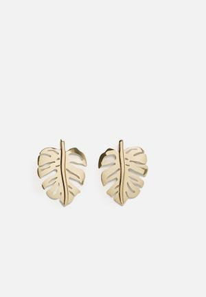 Leaf earrings - gold
