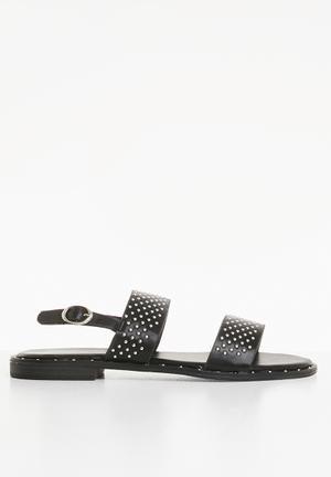 6bb0fb1d0 Studded ankle strap flat sandals - black