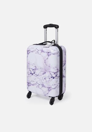 Small suitcase - purple & white