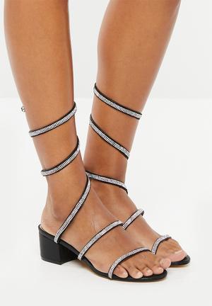 3ed9ee741 Embellished wraparound sandals - black