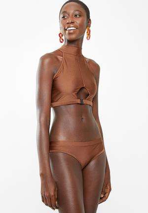 6f4c817142c55 Stella high neck bikini set - brown