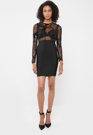 d7f0526f1db Sequins beaded bandage dress - black