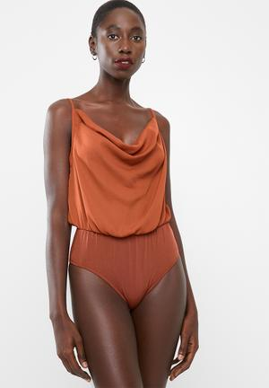 c5fda90de3 Cowl neck bodysuit - brown