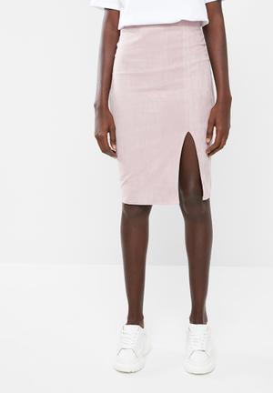 bb11a1bf2b5 Faux suede side split midi skirt - pink