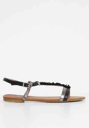 79f64fa08150 Flower detail sandals - black