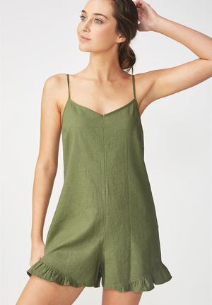 a259712efe25 Woven lilly strappy frill playsuit - khaki