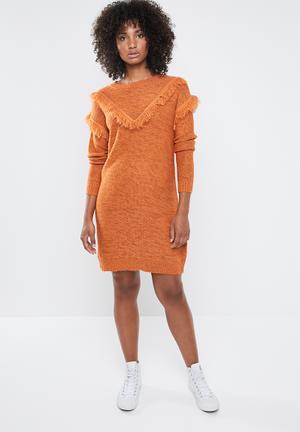 6ccffbad6efb Fringi long sleeve boatneck dress - rust