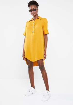 23dabb9b7616 Shift dress with button detail - mustard
