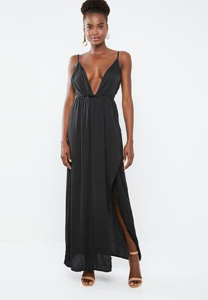 cf7031cd26 Plunge satin tie maxi dress - black