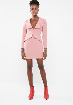 3adb8328e5 Tailored collar plunge mini dress - pink