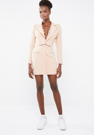 7b57e919450d Lace insert cut out blazer dress - peach