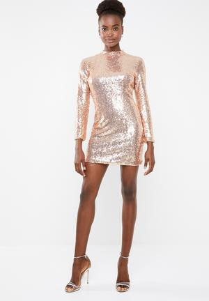 Sequin cut out long sleeve mini - rose gold 8d2a7b9cc063