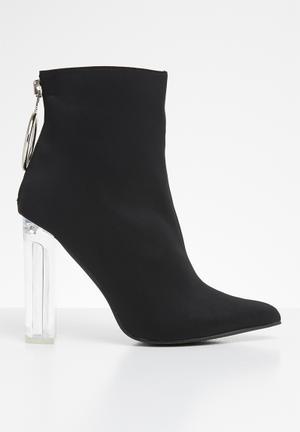 5fbcff05b5c4 Fierce block perspex heel ankle boot - black