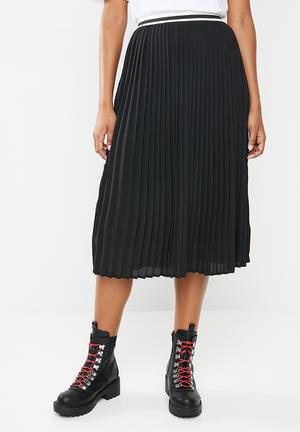 a158097ec6 Pleated skirt with sports stripe detail - black