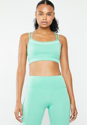 ef82adca081c5 By South Beach R349 · Mesh insertion strappy back detail seamless sports bra  - turquoise