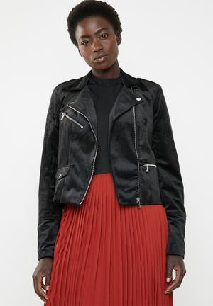 Hazle velvet short jacket - black