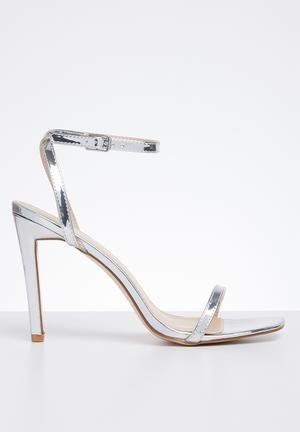 2b640a64cf3 Faux leather ankle strap heel - silver