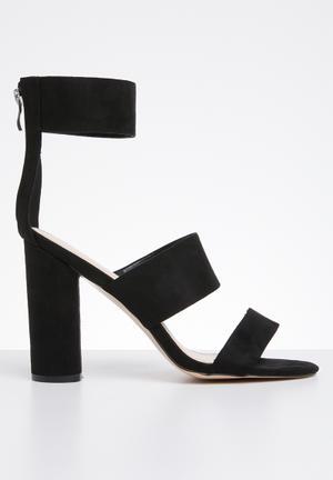 017a4b9ee8a Faux suede ankle strap block heel - black
