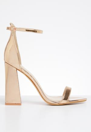 93b9caecd60 Faux leather ankle strap block heel - rose gold