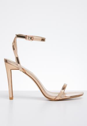 df52beb9506 Faux leather ankle strap heel - rose gold