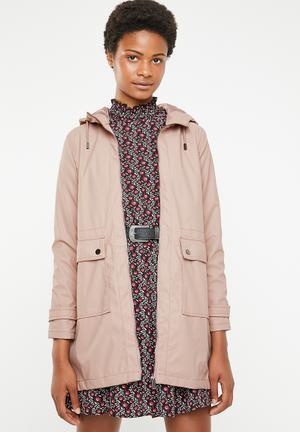 Longline anorak parker jacket - pink