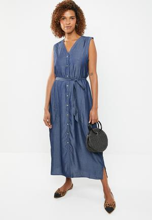 b8c1d57a877 Button down tencil dress - blue